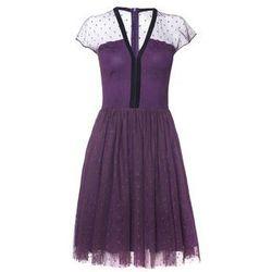 Sukienka ze śliwkowego tiulu w groszki wykończona aksamitką