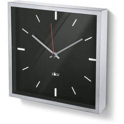 Zack - Zegar wiszący kwadratowy Durata - czarny - stal nierdzewna matowa