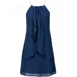 Sukienka szyfonowa z kolią bonprix ciemnoniebieski