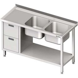 Stół ze zlewem dwukomorowym z dwiema szufladami i półką STALGAST 1600x700x850 prawy