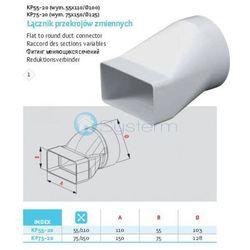 Łącznik przekrojów zmiennych kanałów płaskich wentylacyjnych ABS Awenta KP75-20 - DN 125/75x150