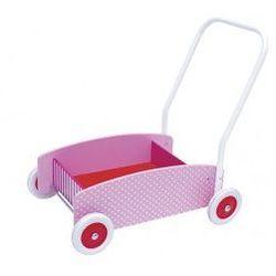 Drewniany chodzik, wózek -pchacz pink