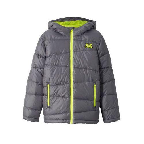 Ocieplana kurtka zimowa z kapturem bonprix dymny szary - żółty neonowy c38f5e06ead1