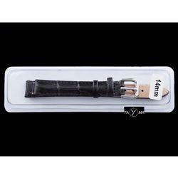 Pasek skórzany do zegarka w pudełku - czarny/czarne - 14mm