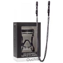 Ouch! Adjustable Nipple Clamps Black Zaciski na sutki z łańcuszkiem czarne