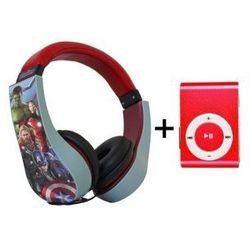 Bezpieczne Słuchawki Nauszne Dla Dzieci Avengers + Odtwarzacz MP3 Czerwony