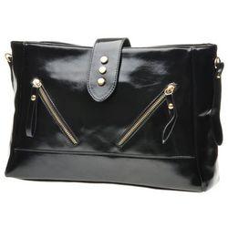 Miękka czarna torebka na ramię z ukośnymi suwakami - czarny
