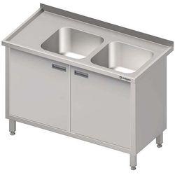 Stół ze zlewem dwukomorowym z szafką STALGAST 1500x700x850 prawy