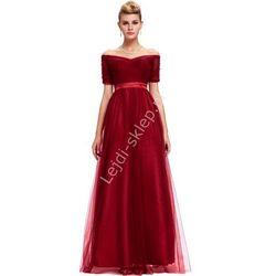 Tiulowa długa sukienka ciemne wino, dekolt carmen | tiulowe długie sukienki