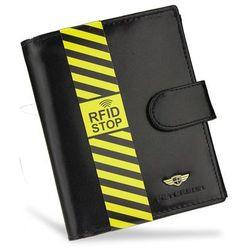 2ee22f904ed5 Bezpieczny Portfel Męski Skórzany Klasyczny Czarny Zapinany RFID STOP 342Z
