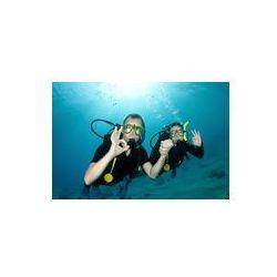 Foto naklejka samoprzylepna 100 x 100 cm - Płetwonurków, mężczyzna i kobieta daje ok znak pod wodą