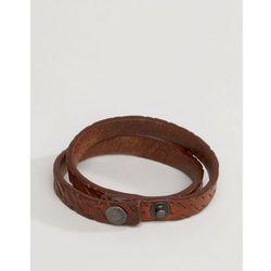 Diesel A-Trace Leather Wrap Bracelet In Brown - Brown