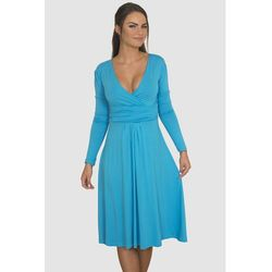 Sukienka z odcięciem pod biustem turkusowa - Niebieski