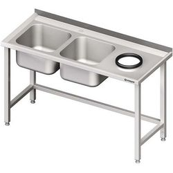 Stół ze zlewem dwukomorowym z otworem na odpadki STALGAST 1400x700x850 lewy