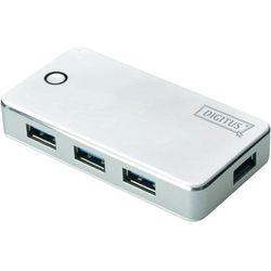 Hub USB 3.0 Digitus DA-70232, 4 x USB, biały, zasilacz