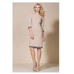 Beżowa sukienka biznesowa AL03