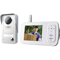 Video domofon bezprzewodowy Smartwares VD38W, Kompletny zestaw, Interkom drzwiowy z wideo, Dom jednorodzinny, Kolor: Szary, Srebrny
