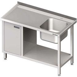 Stół ze zlewem jednokomorowym z szafką i półką STALGAST 1000x700x850 prawy