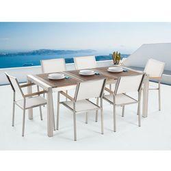 Meble ogrodowe - stół ze stali nierdzewnej 180 cm z drewnianym blatem z 6 białymi krzesłami - GROSSETO