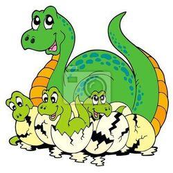 Naklejka Mama dinozaur z cute dzieci