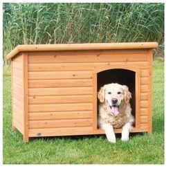 Naturalna buda dla psa z płaskim dachem Kolor:Brązowy / Biały, Rozmiar:L