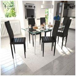 6 wysokich, czarnych krzeseł do jadalni + stół ze szklanym blatem Zapisz się do naszego Newslettera i odbierz voucher 20 PLN na zakupy w VidaXL!
