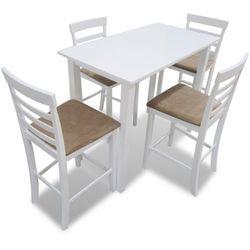 vidaXL Stół wysoki biały + Wysokie krzesła (x4) Darmowa wysyłka i zwroty