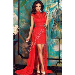 Czerwona koronkowa sukienka z trenem | sukienka z dłuższym tyłem
