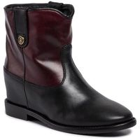 Botki TOMMY HILFIGER - Color Block Wedge Bootie FW0FW04431 Chocolate Truffle 299