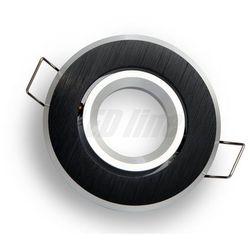 Oprawa halogenowa sufitowa okrągła ruchoma, aluminium, MR11 - czarna szczotkowana