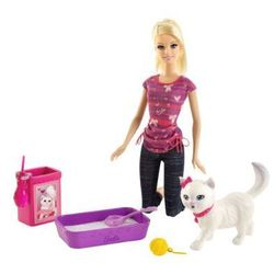 MATTEL Barbie my fab family Barbie & Kotek
