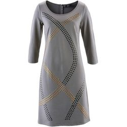 Sukienka shirtowa z ćwiekami bonprix dymny szary