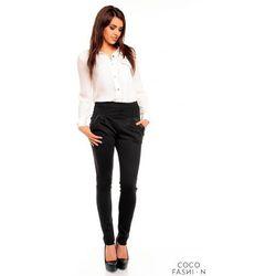 Czarne Eleganckie Spodnie z Lamówkami z Eko-skory