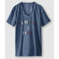 Wzorzysty t-shirt z dekoltem w serek