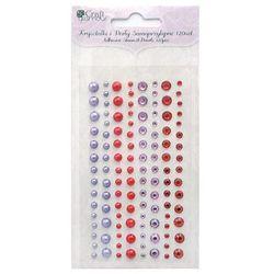 Kryształki i perły samoprzylepne Dalprint GRKP-004/120szt. - fioletowe-czerwone