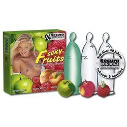 Secura Sexy Fruits Aroma Condoms Colourful Prezerwatywy nawilżane ze zbiorniczkiem zapachowe 24 sztuki