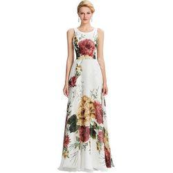 Długa biała suknia z nadrukiem w kwiaty   długa kwiatowa suknia   sukienki maxi