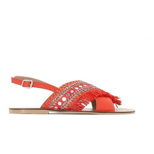 Skórzane sandały z koralikami, szeroka stopa 38 45