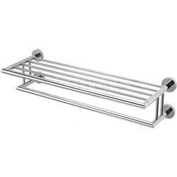 Półka na ręczniki z relingiem / mocowanie 4-punktowe | 65,5 x 25,5 x 16 cm