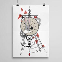 Plakat na ścianę: Zegar zając