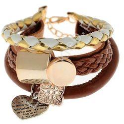 Elegancka bransoletka z rzemykami skórzanymi oraz zawieszkami