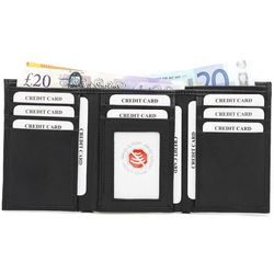Skórzany portfel trifold chroniący karty zbliżeniowe (Czarny) - Czarny mat