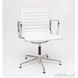 Fotel konferencyjny, oparcie wykonane z białej skóry CH1081