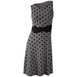 Sukienka w groszki bonprix szaro-czarny w groszki