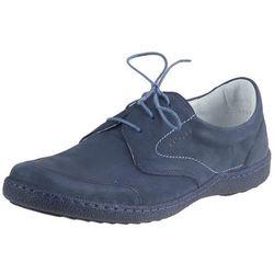 Niebieskie półbuty płaskie sznurowane Kacper CoZaButy - Niebieskie (nubuk) 481