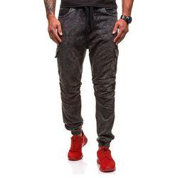 Czarne spodnie joggery bojówki męskie Denley 4257 - CZARNY