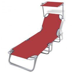 Leżak składany z baldachimem 189 x 58 x 27 cm, czerwony Zapisz się do naszego Newslettera i odbierz voucher 20 PLN na zakupy w VidaXL!