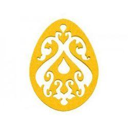 Dekoracja z filcu PISANKA AŻUR duża (I) żółta - 1 SZTUKA