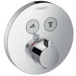 Bateria Hansgrohe Select s hansgrohe bateria termostatyczna podtynkowa dla 2 odbiorników element zewnętrzny chrom - 15743000 15743000