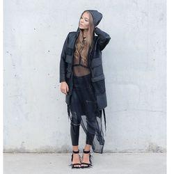 Bluza Black maxi leather hoodie